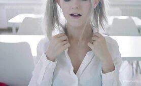 Eva Elfie cosplaying schoolgirl sucking off and fucking her classmate